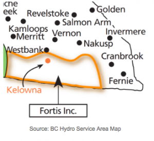 Fortis BC servicing area; The area where the Fortis BC net metering program is in effect.